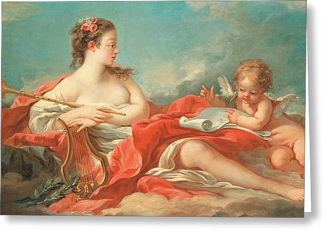 Erato  The Muse of Love Poetry Greeting Card by Francois Boucher