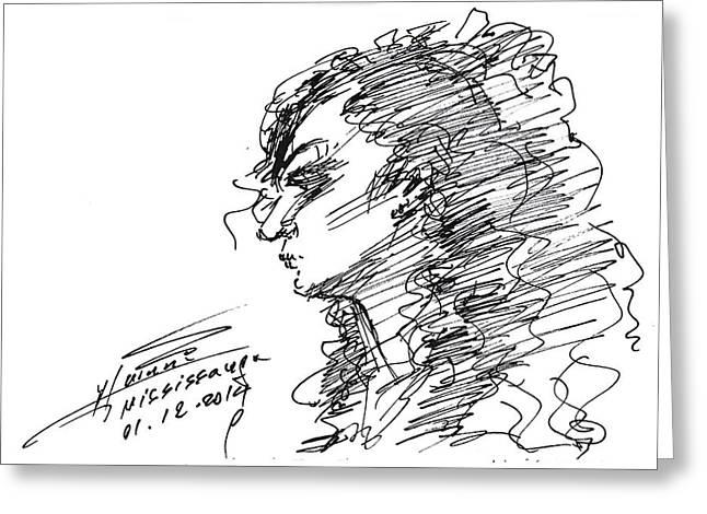Portrait Drawing Greeting Cards - Erbi Greeting Card by Ylli Haruni