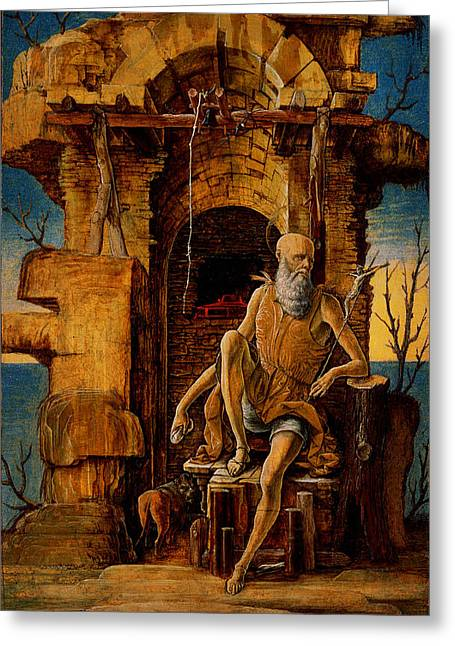 Ercole De Roberti - Saint Jerome In The Wilderness Greeting Card by MotionAge Designs