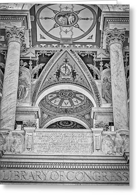 Library Of Congress Greeting Cards - Erected Under The Act Of Congress BW Greeting Card by Susan Candelario