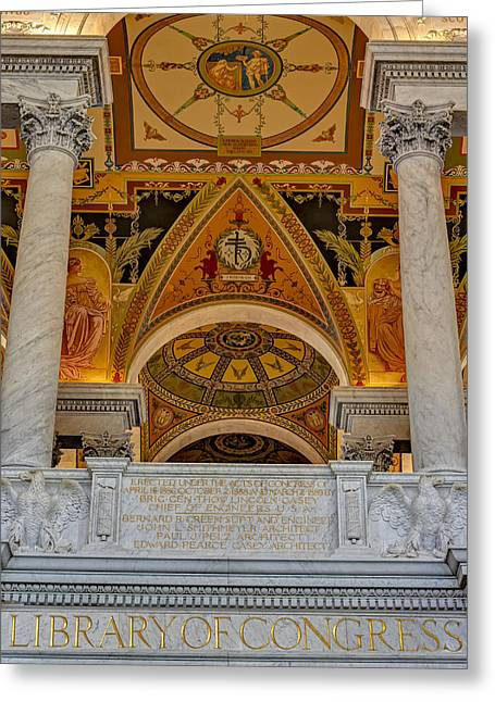 Library Of Congress Greeting Cards - Erected Under The Act Of Congress Greeting Card by Susan Candelario