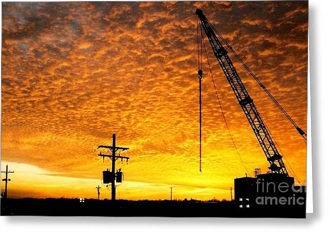 Sunset Framed Prints Greeting Cards - Erecting A Sunset Greeting Card by Michael Hoard