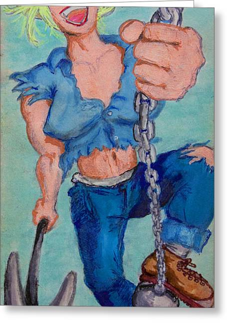 Dungarees Greeting Cards - Erection Worker Greeting Card by Del Gaizo