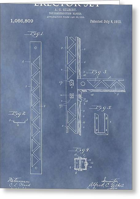 Toy Store Mixed Media Greeting Cards - Erector Set Patent Greeting Card by Dan Sproul