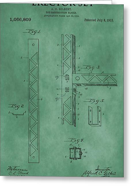 Toy Shop Greeting Cards - Erector Set Patent Green Greeting Card by Dan Sproul