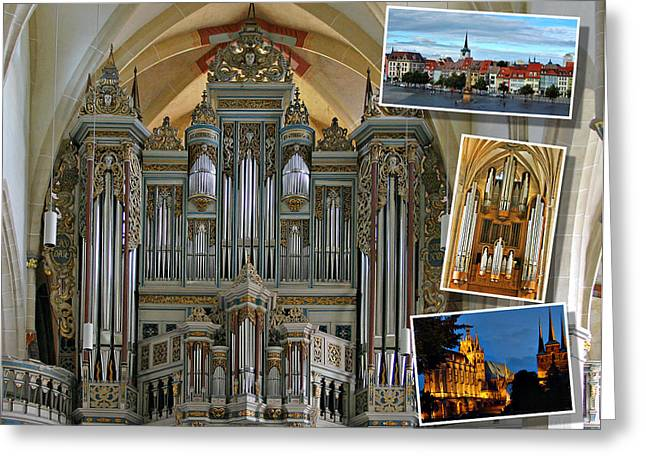 Music Greeting Cards - Erfurt organ montage Greeting Card by Jenny Setchell