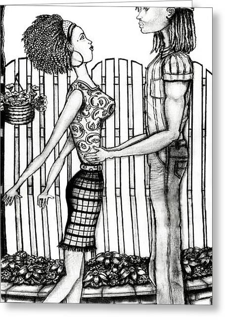 Nike Drawings Greeting Cards - Eric And Lynnette Greeting Card by Karen-Lee