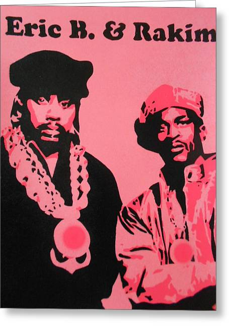 Rakim Greeting Cards - Eric B and Rakim Greeting Card by Leon Keay
