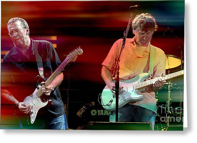 Slowhand Greeting Cards - Eric Clapton and Steve Winwood Greeting Card by Marvin Blaine