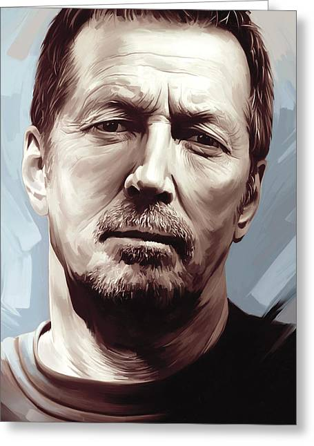 Eric Clapton Portrait Greeting Cards - Eric Clapton Artwork Greeting Card by Sheraz A
