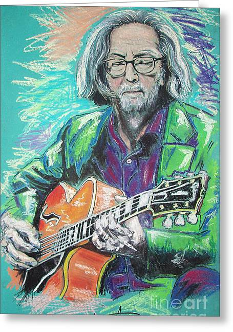 Celebrities Pastels Greeting Cards - Eric Clapton Greeting Card by Melanie D