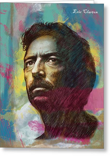 Eric Greeting Cards - Eric Clapton stylised pop art drawing poster Greeting Card by Kim Wang