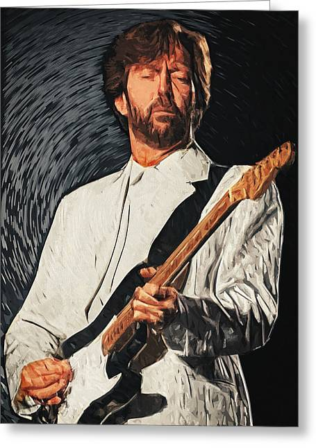 Celebrity Pop Art Greeting Cards - Eric Clapton Greeting Card by Taylan Soyturk