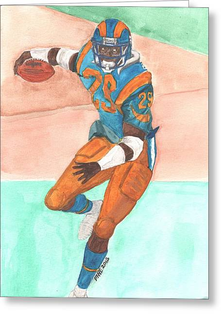 Eric Dickerson Los Angeles Rams Greeting Card by Paul McRae