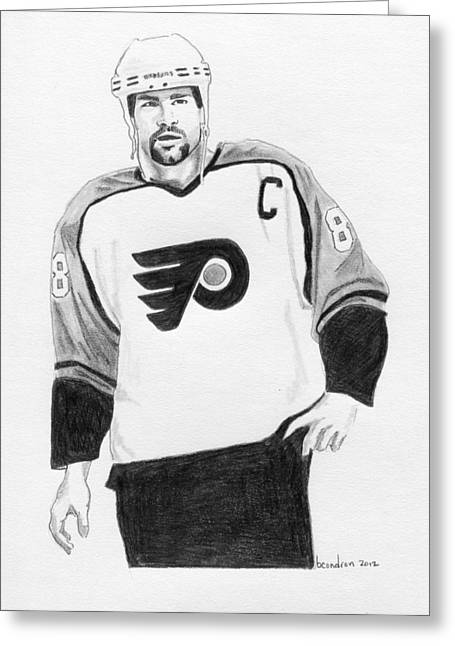 Philadelphia Flyers Drawings Greeting Cards - Eric Lindros Greeting Card by Brian Condron