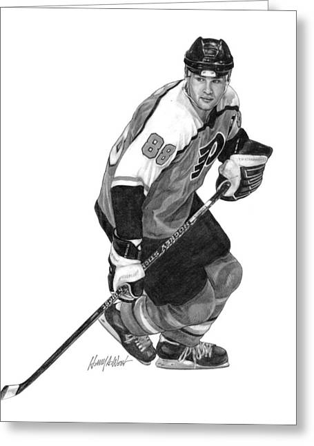 Philadelphia Drawings Greeting Cards - Eric Lindros Greeting Card by Harry West