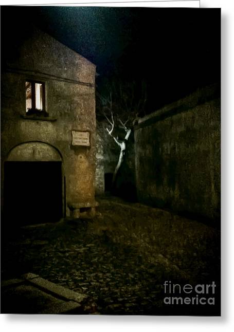 Erice Greeting Cards - Erice Notte Greeting Card by Girolamo Cavalcante
