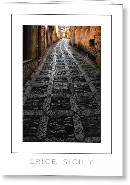 Erice Greeting Cards - Erice Sicily poster Greeting Card by Mike Nellums