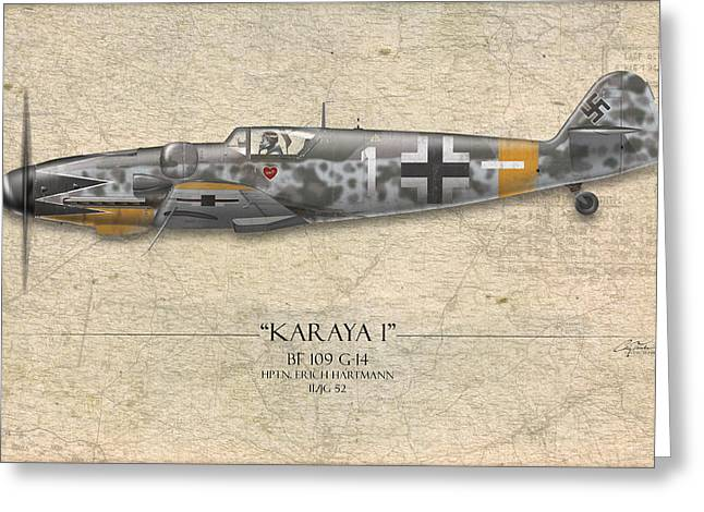 Battle Digital Greeting Cards - Erich Hartmann Messerschmitt Bf-109 - Map Background Greeting Card by Craig Tinder