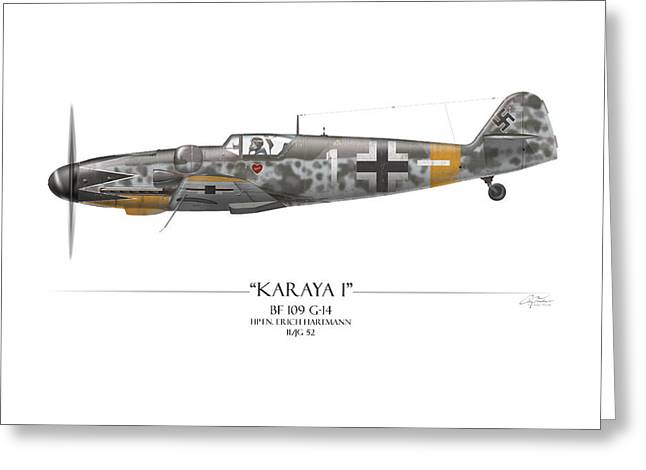 Erich Hartmann Messerschmitt Bf-109 - White Background Greeting Card by Craig Tinder