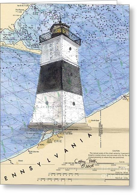 Nautical Chart Greeting Cards - Erie Harbor Lighthouse PA Nautical Chart Map Art Cathy Peek Greeting Card by Cathy Peek