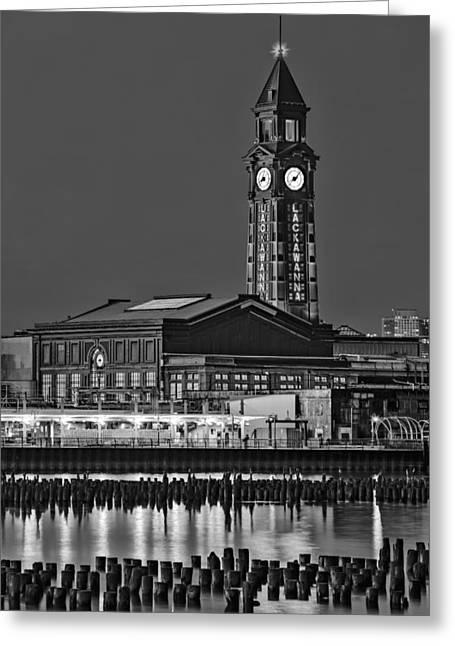 Clocks Greeting Cards - Erie Lackawanna Terminal Hoboken BW Greeting Card by Susan Candelario