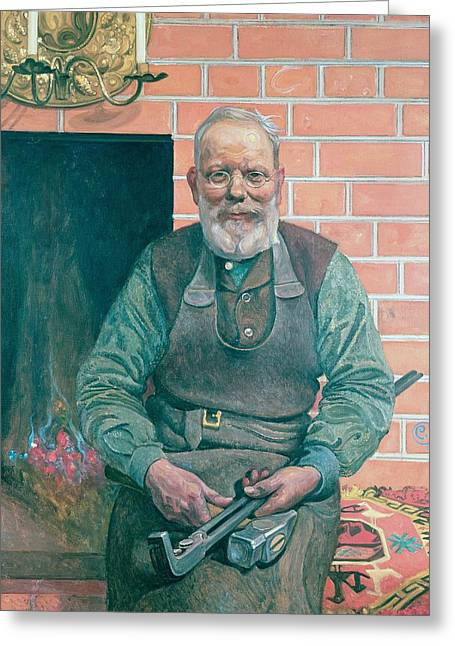 Tool Greeting Cards - Erik Erikson The Blacksmith Greeting Card by Carl Larsson