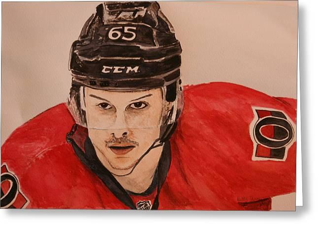 Hockey Paintings Greeting Cards - Erik Karlsson Greeting Card by Betty-Anne McDonald