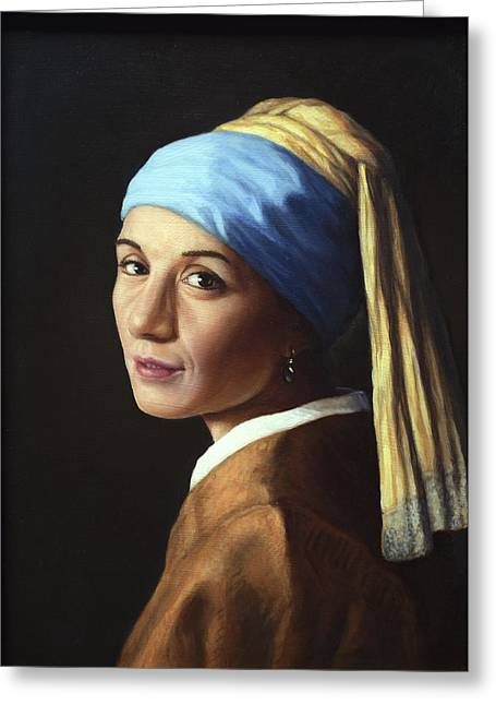 Vermeer Paintings Greeting Cards - Erika with a pearl earring Greeting Card by James W Johnson