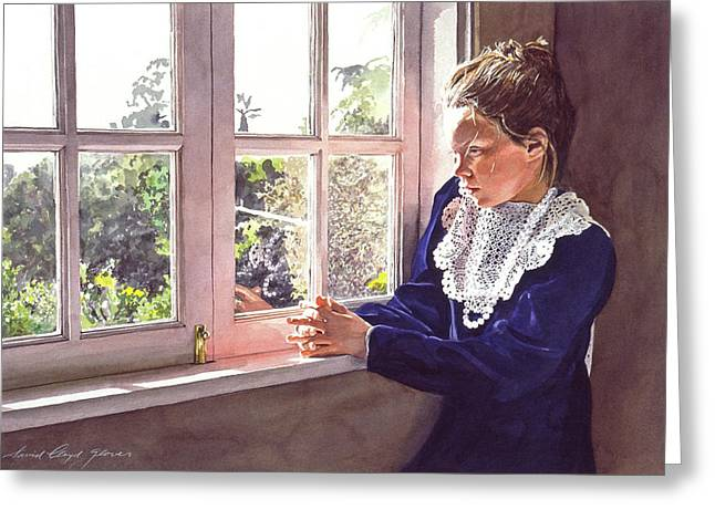 Featured Portraits Greeting Cards - Erin Foster Waiting For Daddy Greeting Card by David Lloyd Glover