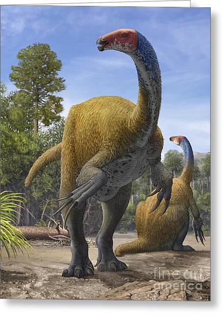 Body Awareness Greeting Cards - Erlikosaurus Andrewsi Dinosaurs Greeting Card by Sergey Krasovskiy