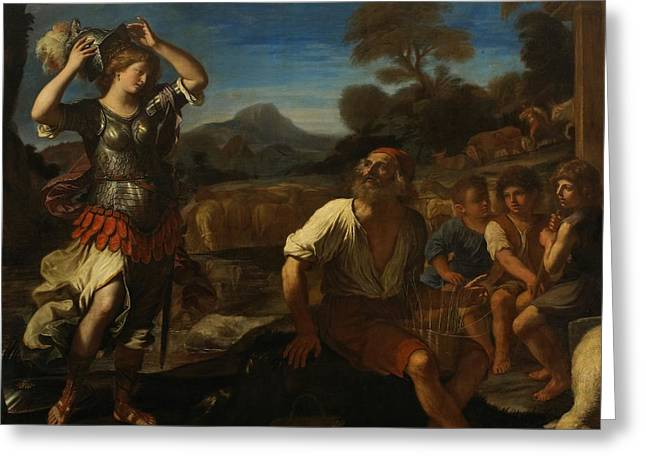 Delivering Greeting Cards - Erminia and the Shepherds Greeting Card by Giovanni Francesco Barbieri