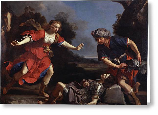 Baroque Greeting Cards - Erminia Finding The Wounded Tancredi Oil On Canvas Greeting Card by Guercino
