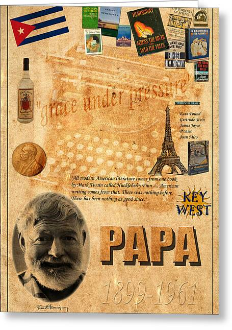 Hemingway Greeting Cards - Ernest Hemingway Greeting Card by Andrew Fare