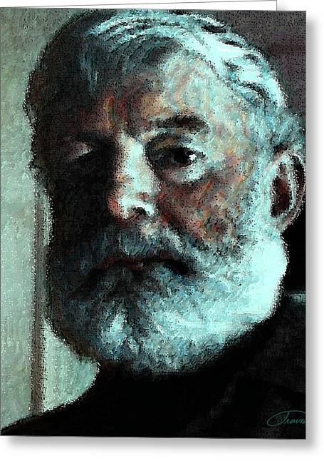 Icons Prints On Canvas Greeting Cards - Ernest Hemingway Greeting Card by John Travisano