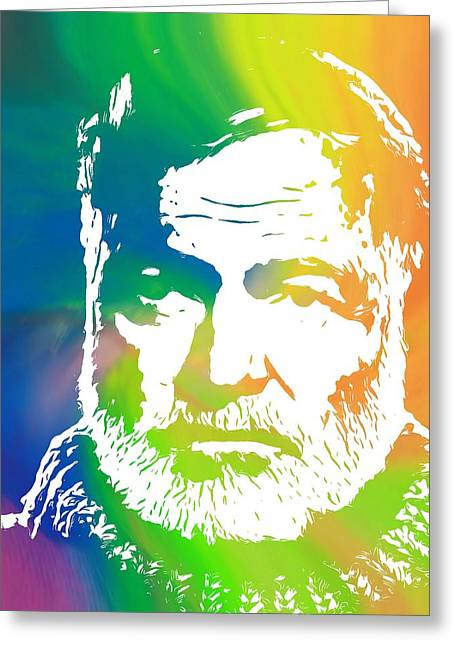 Blue And Purple Sea Greeting Cards - Ernest Hemingway Pop Art Greeting Card by Dan Sproul