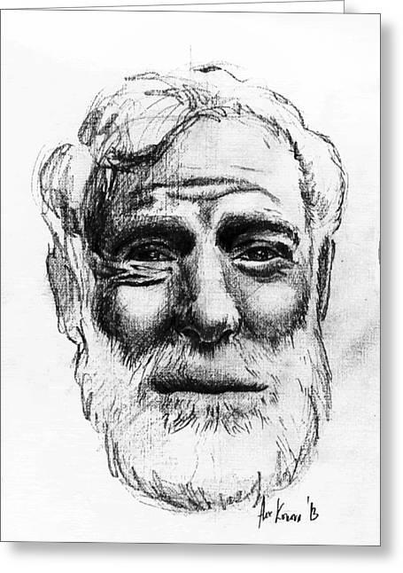 Ernest Hemingway Portrait  Greeting Card by Alexandra-Emily Kokova