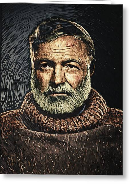 Old Man And The Sea Greeting Cards - Ernest Hemingway Greeting Card by Taylan Soyturk