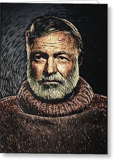 Ernest Hemingway Greeting Card by Taylan Apukovska
