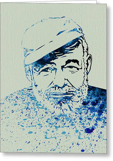 Journalist Greeting Cards - Ernest Hemingway Watercolor Greeting Card by Naxart Studio