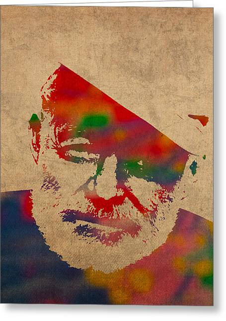 Watercolor Portrait Greeting Cards - Ernest Hemingway Watercolor Portrait on Worn Distressed Canvas Greeting Card by Design Turnpike