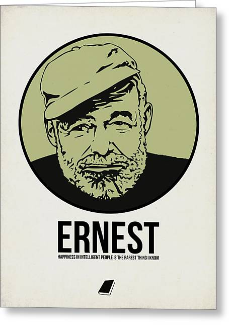 Author Mixed Media Greeting Cards - Ernest Poster 2 Greeting Card by Naxart Studio