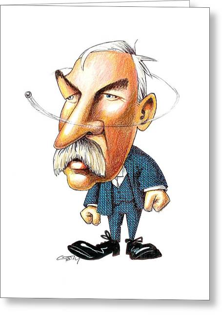 Royal Art Greeting Cards - Ernest Rutherford, caricature Greeting Card by Science Photo Library