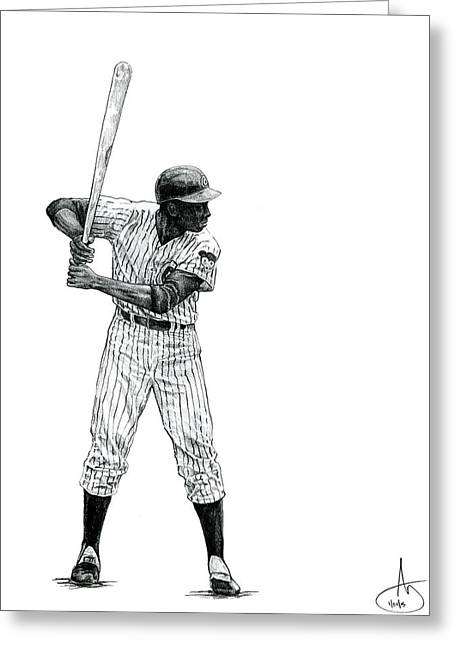 Fame Drawings Greeting Cards - Ernie Banks Greeting Card by Joshua Sooter