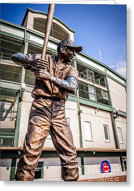 Chicago Cubs Stadium Greeting Cards - Ernie Banks Statue at Wrigley Field  Greeting Card by Paul Velgos