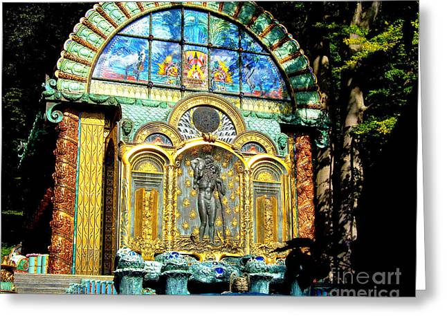 Gold Trim Greeting Cards - Ernst Fuchs Museum Mural Greeting Card by Mariola Bitner