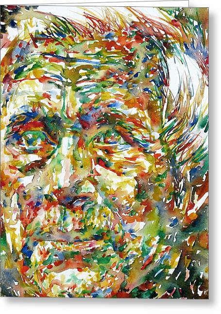 Ernst Greeting Cards - ERNST JUNGER watercolor portrait Greeting Card by Fabrizio Cassetta