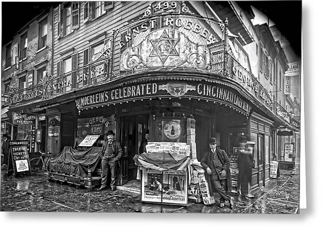 Saloons Greeting Cards - Ernst Roebers Saloon - Manhattan - 1908 Greeting Card by Daniel Hagerman