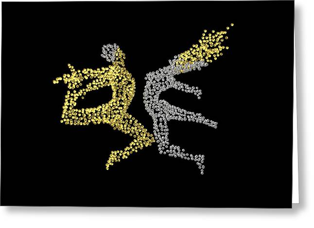 Sacred Sculptures Greeting Cards - Eros and Cosmos - back side - matrix Greeting Card by Sora Neva