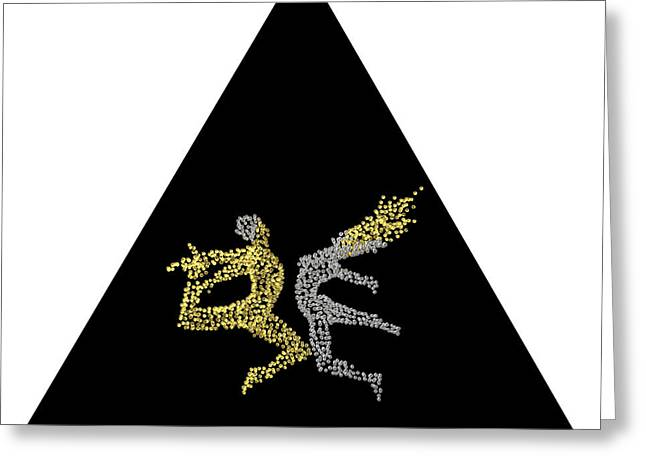 Conscious Digital Art Greeting Cards - Eros and Cosmos - back side - triangle Greeting Card by Sora Neva